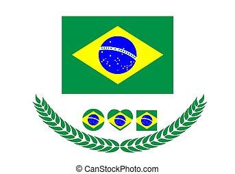 brazília, illustration., flag., nemzeti lobogó, vektor, háttér, fehér