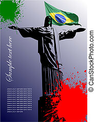 brazília, kép, fedő, lobogó, brazíliai, brosúra