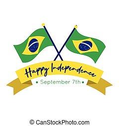 brazília, mód, lakás, kártya, szabadság, zászlók, nap, boldog