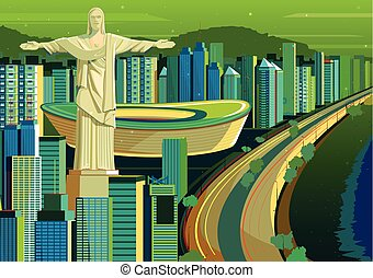 brazília, megváltó, krisztus, szobor