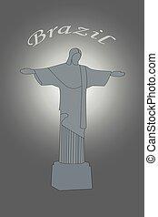 brazília, megváltó, szobor, krisztus, ábra