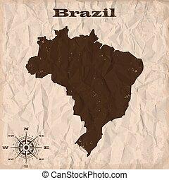 brazília, térkép, gyűrött, öreg, paper., ábra, vektor, grunge