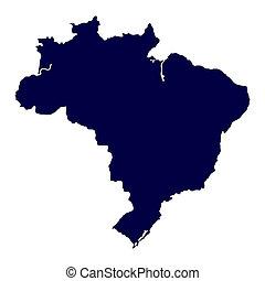 brazília, térkép, white háttér