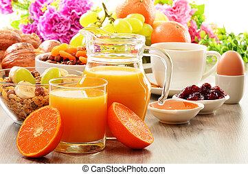 bread, kávécserje, beleértve, méz, lé, gyümölcs, narancs, muesli, reggeli