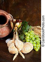 bread, lelki közösség, köcsög, bor