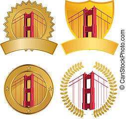 bridzs, állhatatos, kapu, arany-