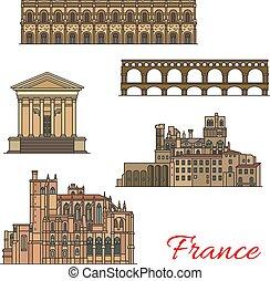 bridzs, épületek, utazás, francia, iránypont