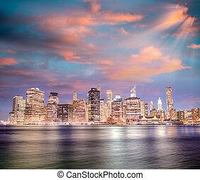 bridzs, alacsonyabb, city., brooklyn, nyomasztó, láthatár, park., napnyugta, york, éjszaka, új, manhattan