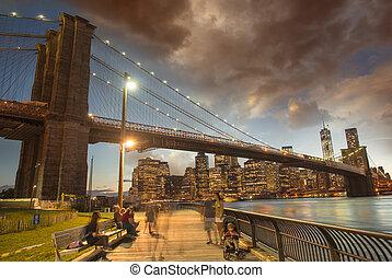 bridzs, brooklyn, láthatár, csodálatos, napnyugta, kilátás, manhattan, park.