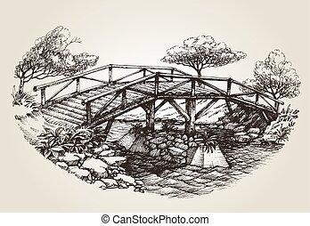 bridzs, felett, folyó, skicc