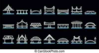 bridzs, ikonok, állhatatos, vektor, neon