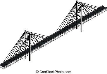 bridzs, isometric, kábel, stayed