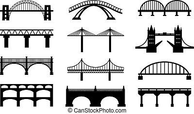 bridzs, körvonal, vektor, ikonok