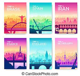 bridzs, különböző, külső, parkosít., utazás, countries., silhouette., napkelte, utca, ábra, sablon, emlékmű, cityscape, szerkesztés, városi