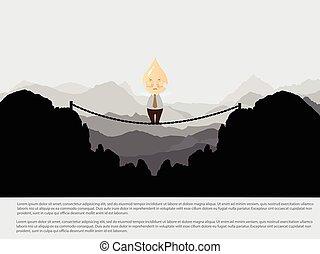 bridzs, kockáztat, siker, -, kereszt, vektor, üzletember
