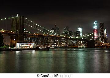 bridzs, liget, brooklyn, láthatár, éjszaka, manhattan