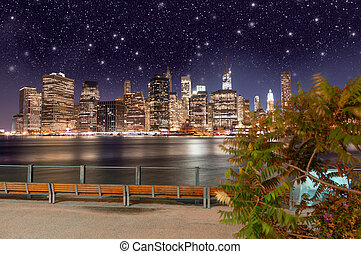 bridzs, -, liget, láthatár, brooklyn, éjszaka, látott, manhattan