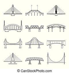 bridzs, lineáris, ikonok, állhatatos, vector.