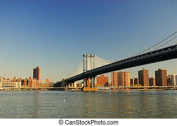 bridzs, manhattan, york, új, város