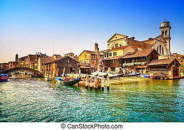 bridzs, raktár, csatorna, velence, olaszország, gondole, víz, gondola, europe., vagy, sunset.