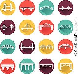 bridzs, set., vektor, elszigetelt, ikonok