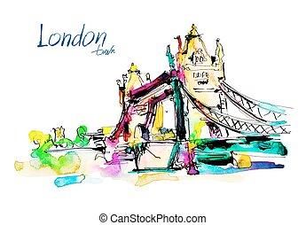 bridzs, skicc, vízfestmény, london, bástya, festmény