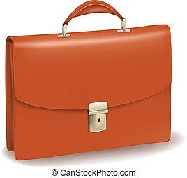 briefcase., ügy, barna