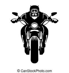 bringás, motorkerékpár, icon., ember
