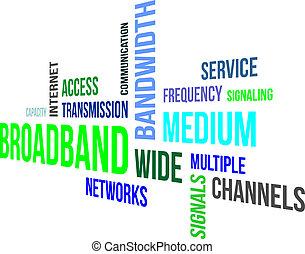 broadband, szó, -, felhő