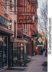 brooklyn, williamsburg, új, bor, készlet cégtábla, folyadék, város, york