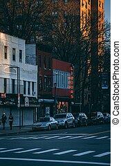brooklyn, williamsburg, új, roebling, utca, bolt, folyadék, város cégtábla, york