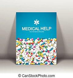 brosúra, orvosi, segítség
