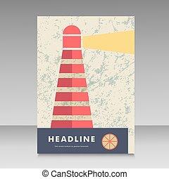 brosúra, világítótorony, tervezés