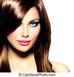 brunette szőr, girl., barna, egészséges, hosszú, gyönyörű