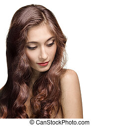 brunette szőr, girl., egészséges, hosszú, gyönyörű