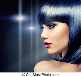 brunette szőr, girl., fekete, egészséges, gyönyörű
