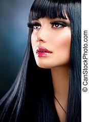 brunette szőr, girl., fekete, egészséges, hosszú, gyönyörű