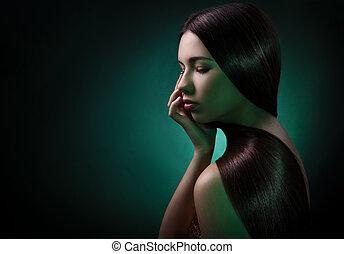 brunette szőr, mód, woman., portré, egészséges, hosszú
