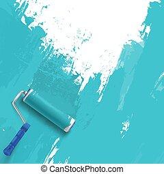 brush., hajcsavaró, festmény, wall., háttér, kék