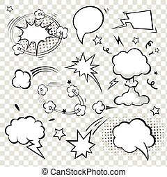 bubbles., komikus, vektor, beszéd, illustration.