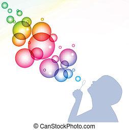 bubbles., vektor, háttér, fújás, gyermek