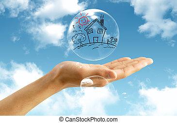 buborék, ég, háttér, real-estate