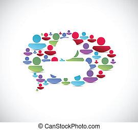 buborék, üzenet, tervezés, ábra, emberek