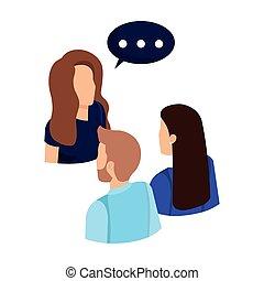 buborék, beszéd, beszéd, ügy emberek