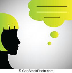 buborék, elvont, beszéd, árnykép, beszélő