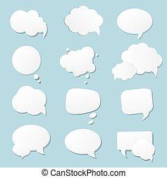 buborék, fehér, kék, dolgozat, beszéd