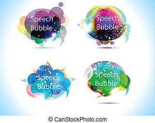 buborék, színes, beszéd, elvont
