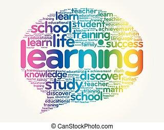 buborék, tanulás, szó, gondol, felhő