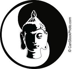 buddha, fej, vektor