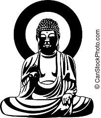buddha, fekete, rajz